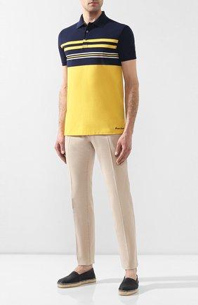 Мужское хлопковое поло RALPH LAUREN желтого цвета, арт. 790740371 | Фото 2