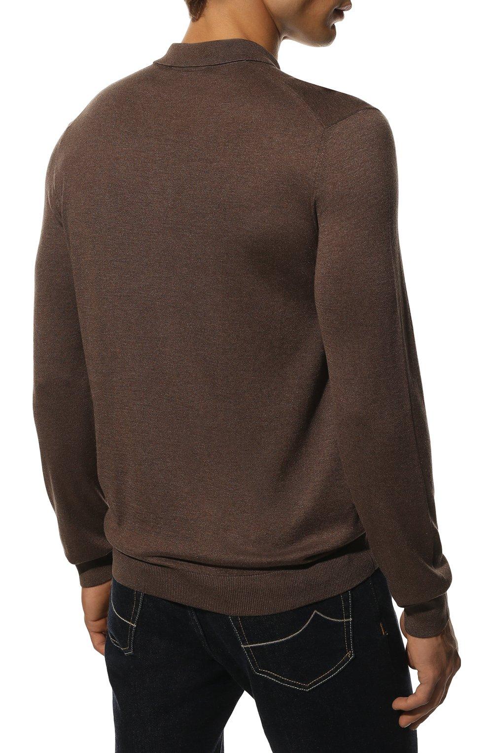 Мужское шелковое поло ANDREA CAMPAGNA коричневого цвета, арт. 43111/23503 | Фото 4