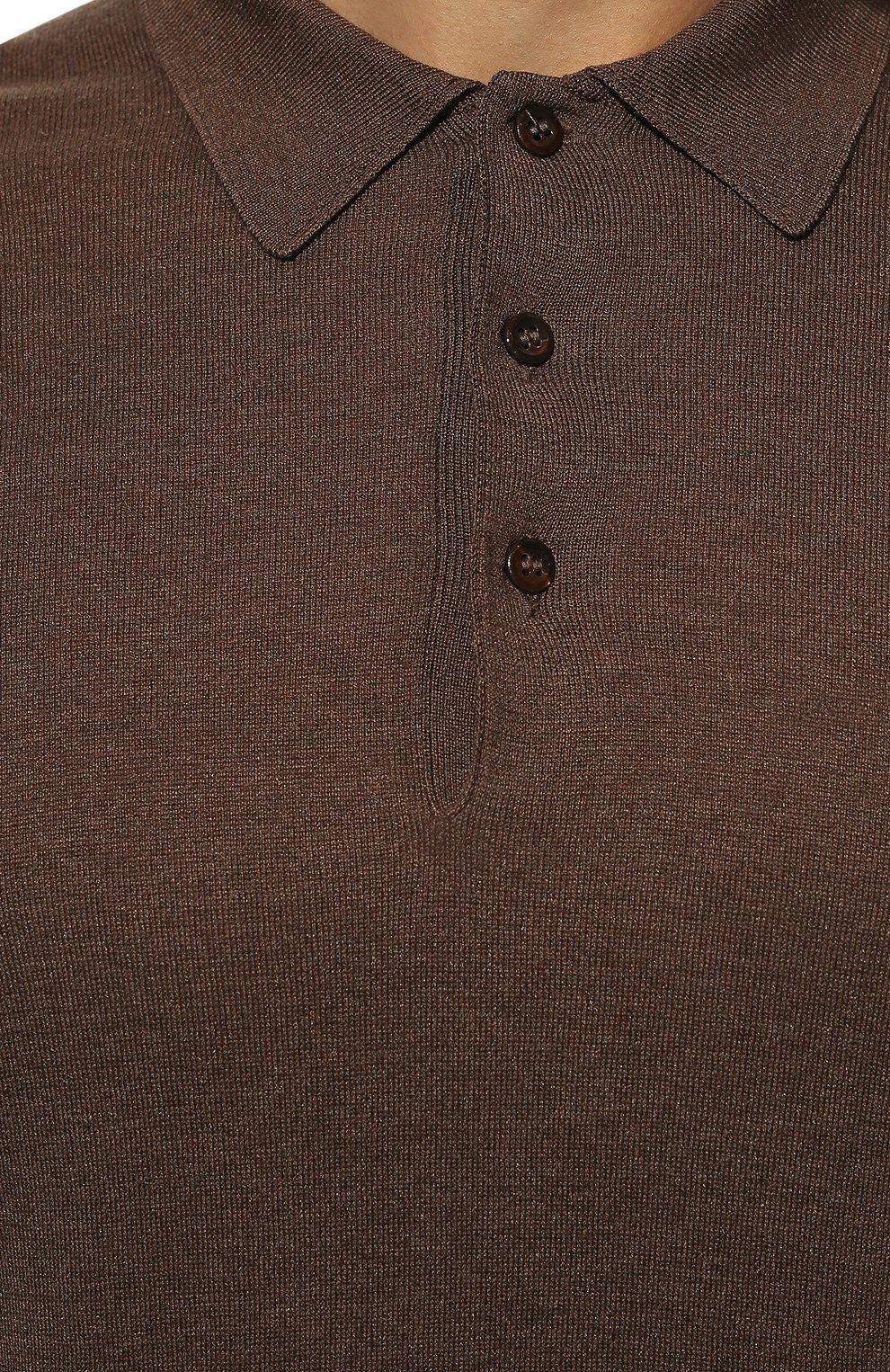Мужское шелковое поло ANDREA CAMPAGNA коричневого цвета, арт. 43111/23503 | Фото 5
