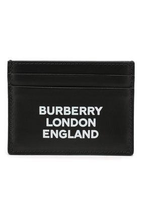 Мужской кожаный футляр для кредитных карт BURBERRY черного цвета, арт. 8009213 | Фото 1