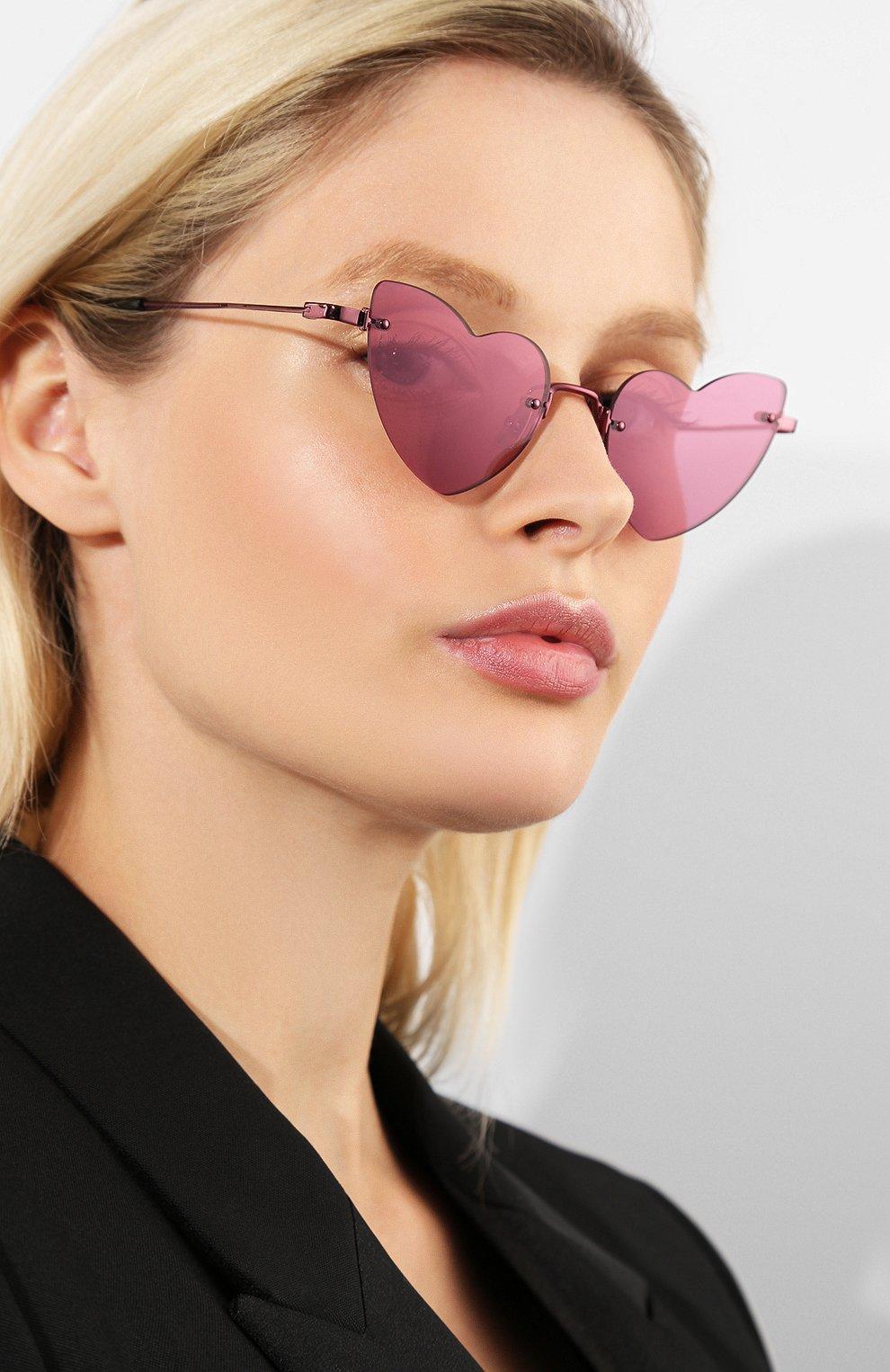 Женские солнцезащитные очки SAINT LAURENT фиолетового цвета, арт. SL 254 L0UL0U 004 | Фото 2