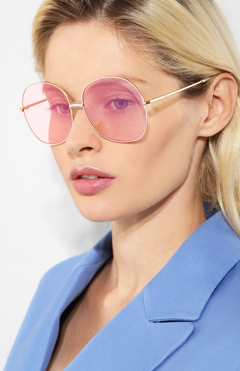 Женские солнцезащитные очки KENZO светло-розового цвета, арт. KZ40017F 30C | Фото 2