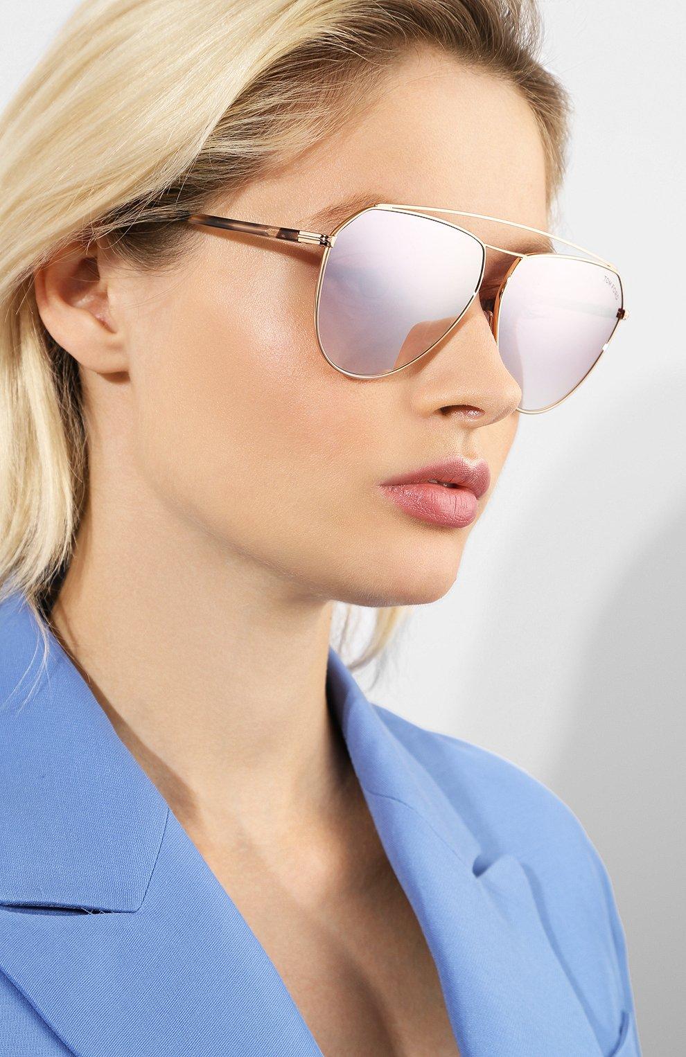 Женские солнцезащитные очки TOM FORD светло-розового цвета, арт. TF681 28Z   Фото 2