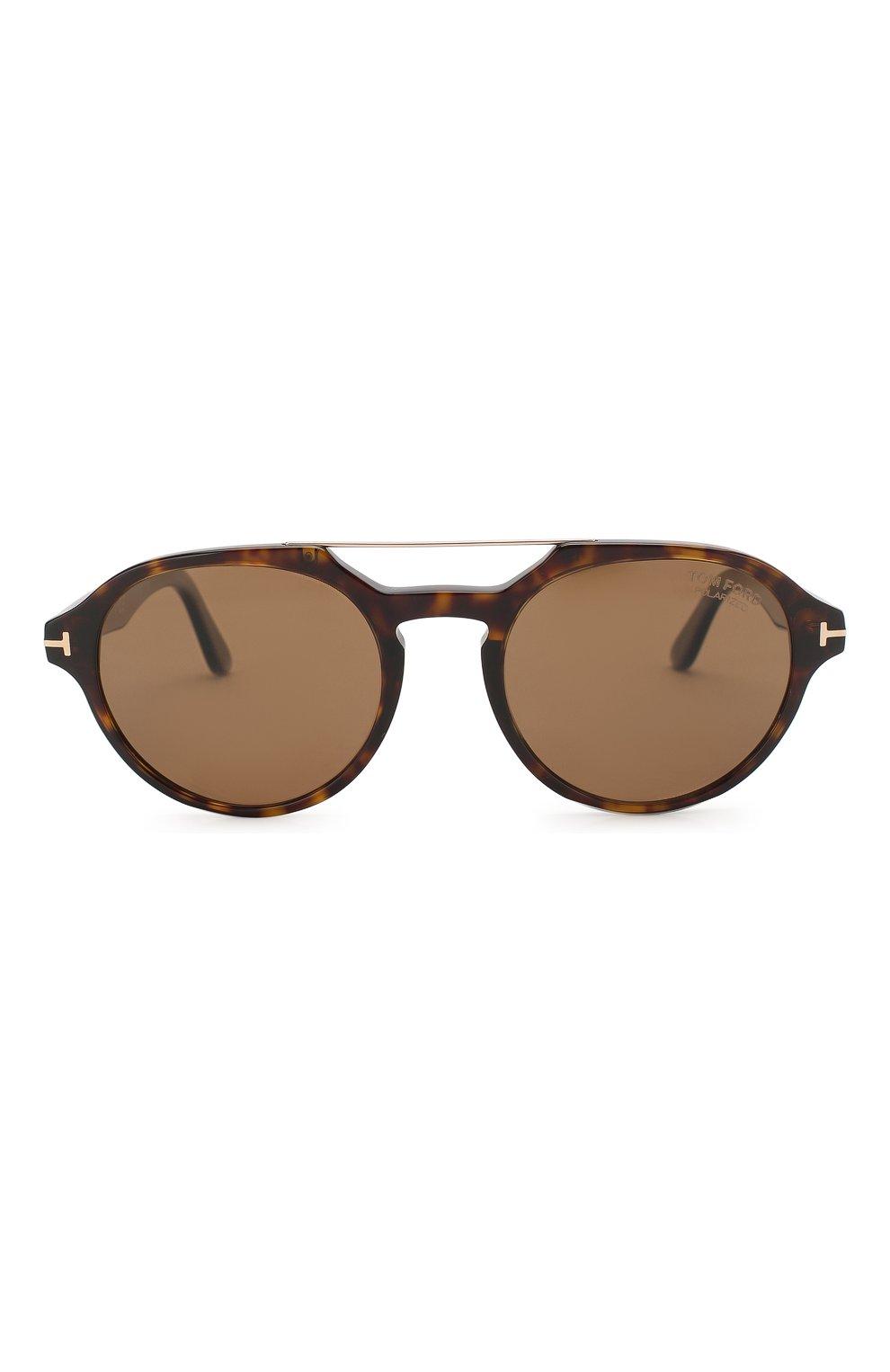 Мужские солнцезащитные очки TOM FORD коричневого цвета, арт. TF696 52H | Фото 2