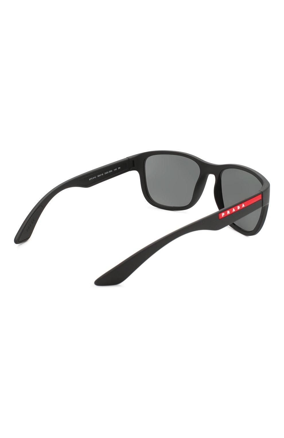 Мужские солнцезащитные очки PRADA LINEA ROSSA черного цвета, арт. 01US-DG05S0 | Фото 3