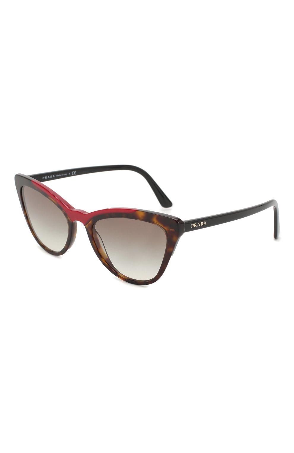 Женские солнцезащитные очки PRADA коричневого цвета, арт. 01VS-3200A7 | Фото 1