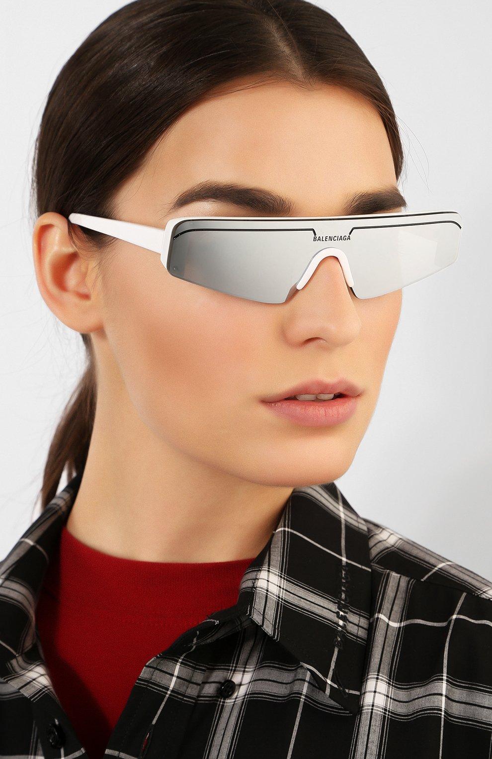 Солнцезащитные очки Balenciaga белые | Фото №2
