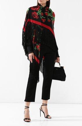 Женский шелковый платок DOLCE & GABBANA черного цвета, арт. FS209A/GDL58   Фото 2