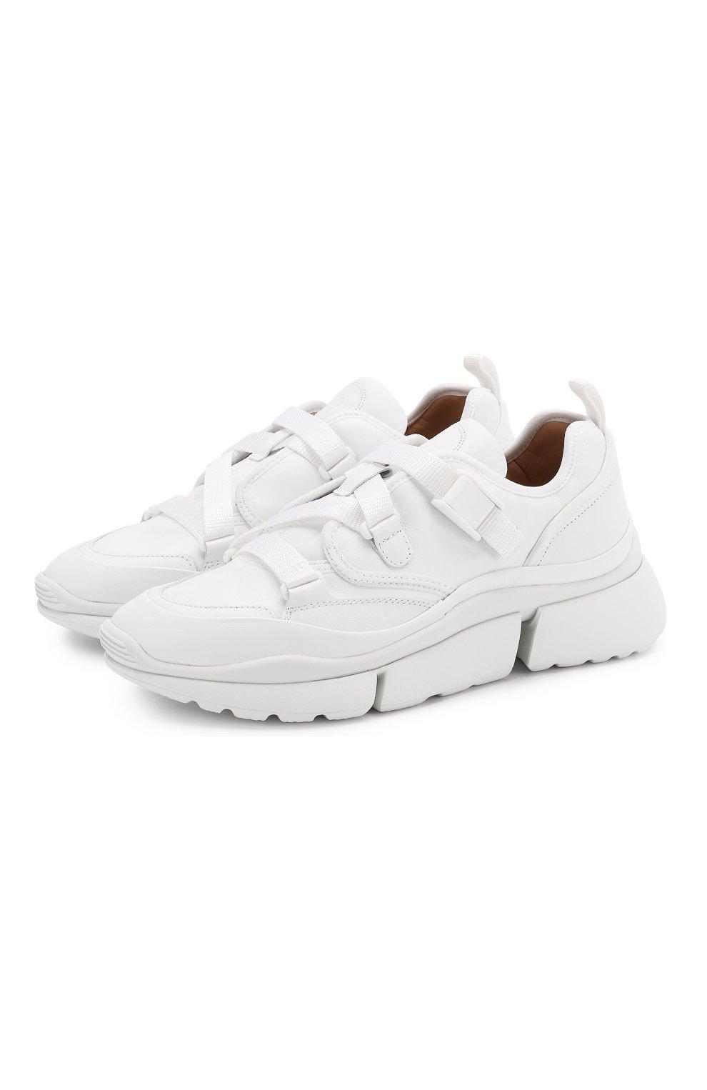 Женские комбинированные кроссовки sonnie CHLOÉ белого цвета, арт. CHC19S05175 | Фото 1