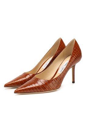 Женская кожаные туфли love 85 JIMMY CHOO коричневого цвета, арт. L0VE 85/CCL | Фото 1