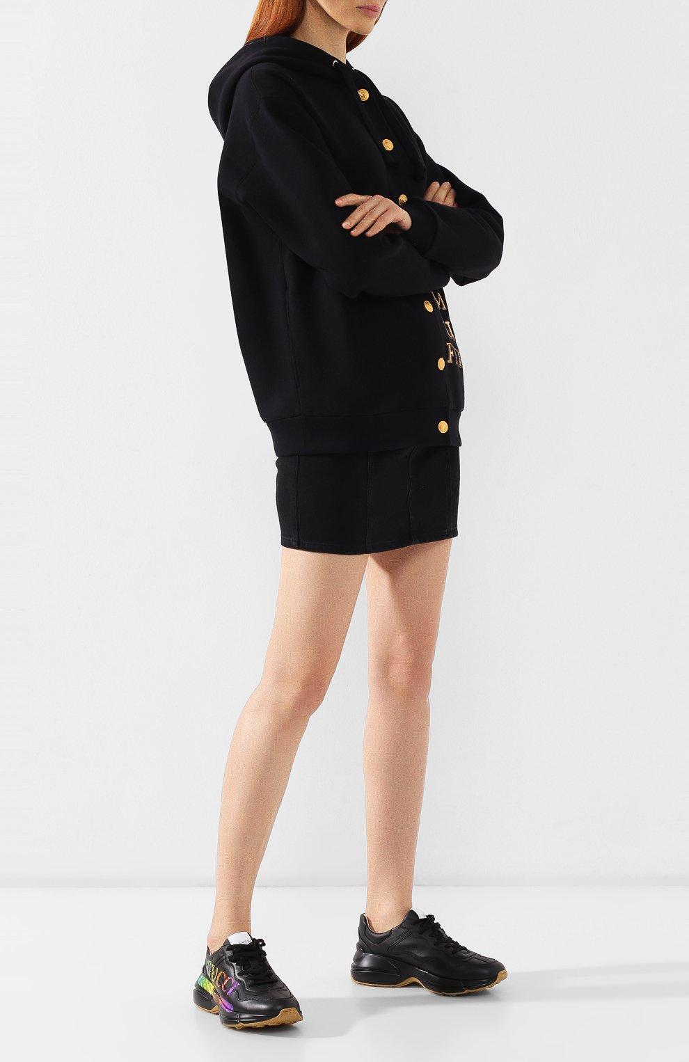 Кожаные кроссовки Rhyton Gucci черные | Фото №2