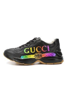 Кожаные кроссовки Rhyton Gucci черные | Фото №3