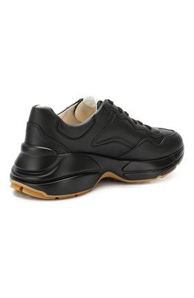 Кожаные кроссовки Rhyton Gucci черные | Фото №4