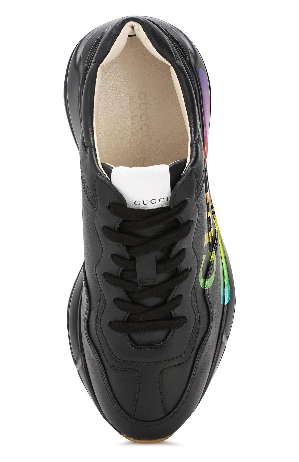 Кожаные кроссовки Rhyton Gucci черные | Фото №5