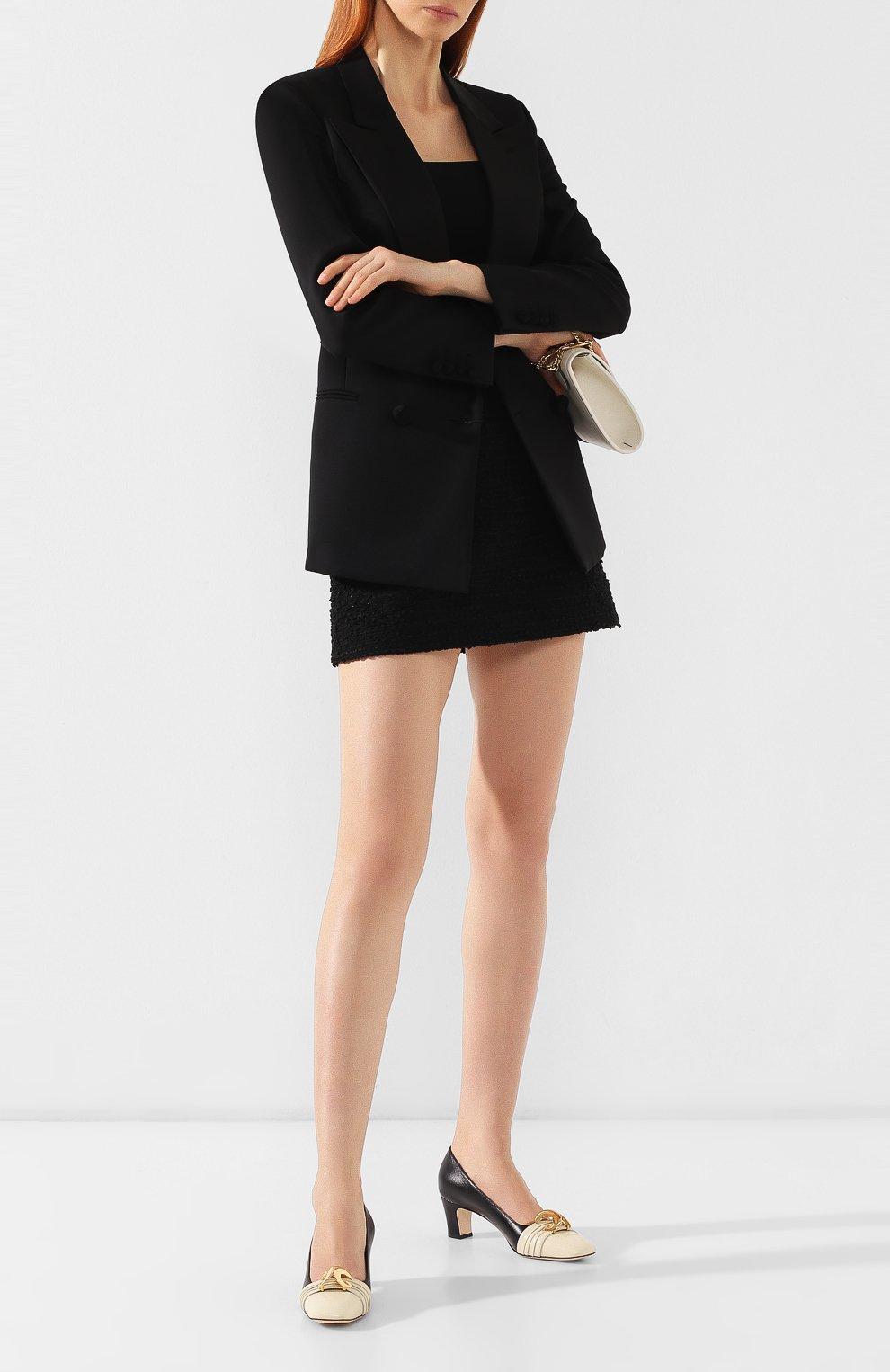 Кожаные туфли Gucci черно-белые | Фото №2