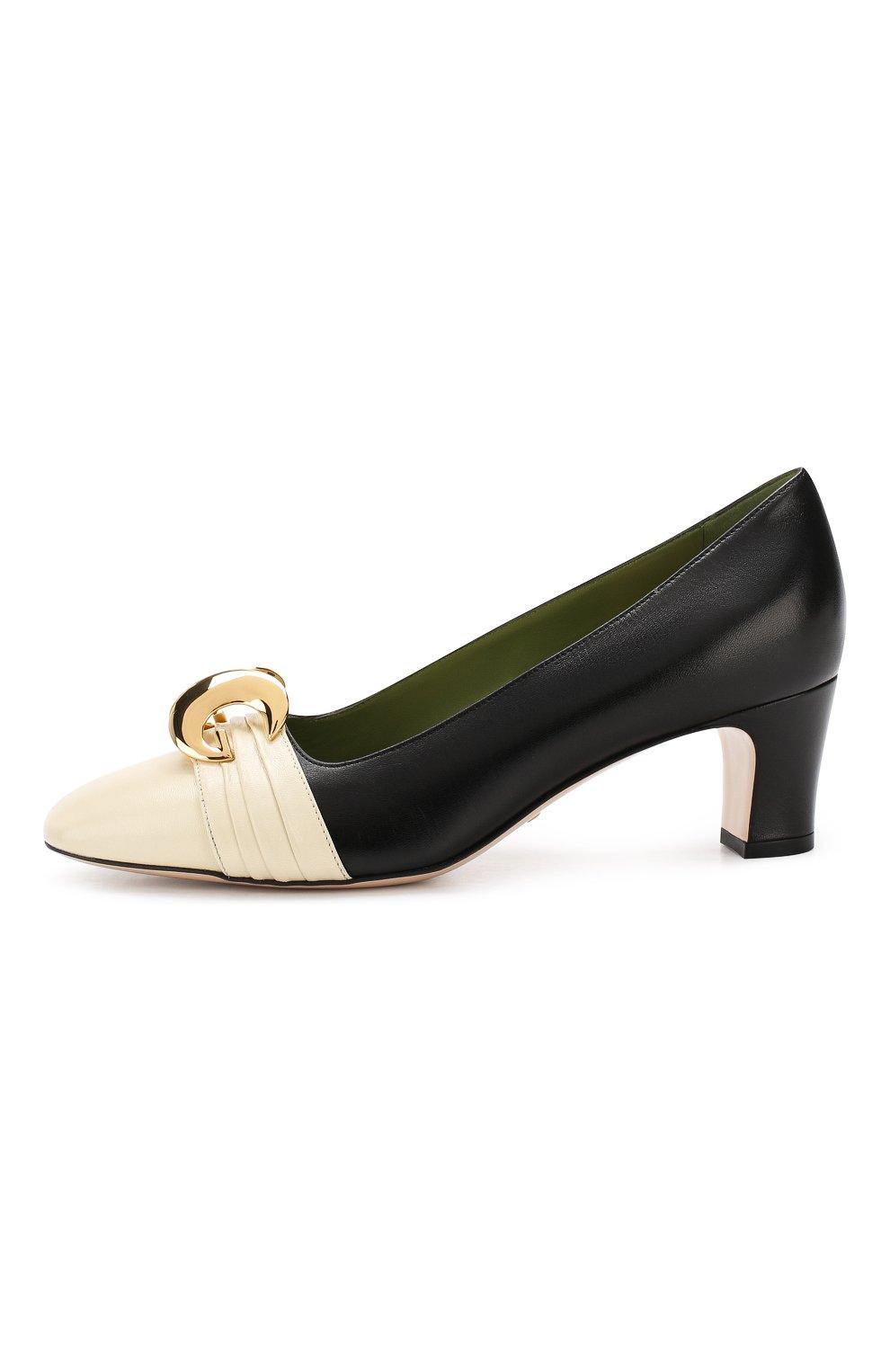 Кожаные туфли Gucci черно-белые | Фото №3