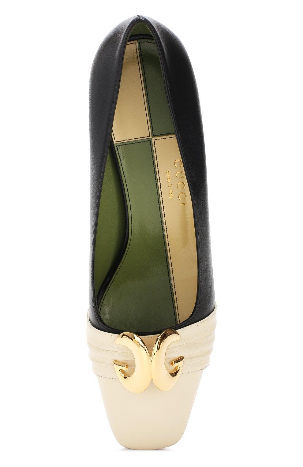 Кожаные туфли Gucci черно-белые | Фото №5