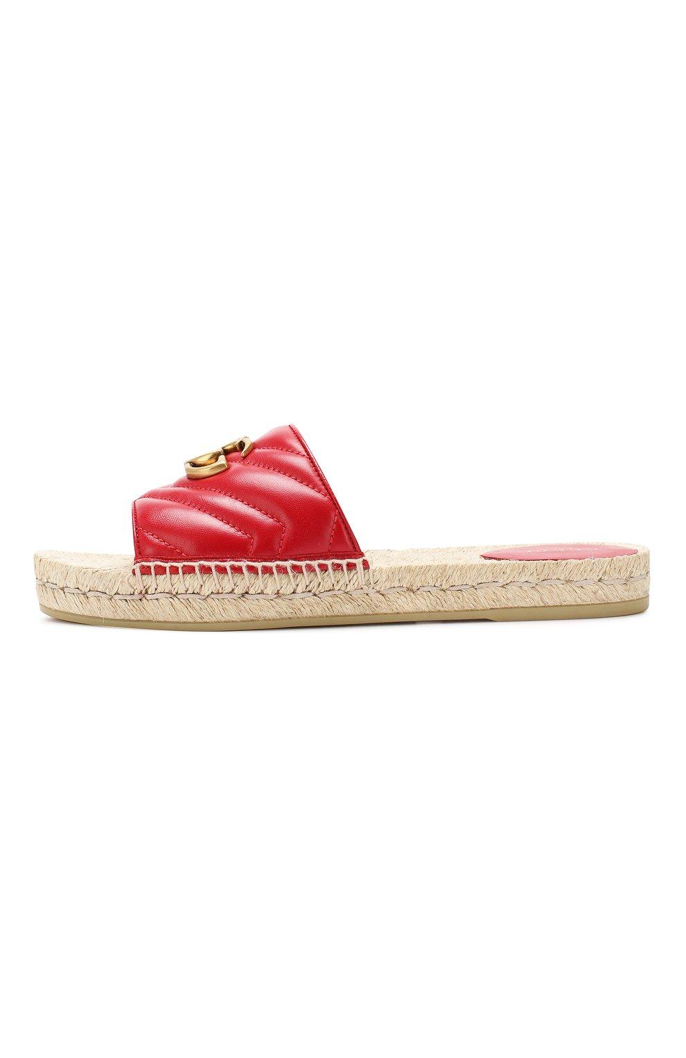 Кожаные шлепанцы Gucci красные | Фото №3