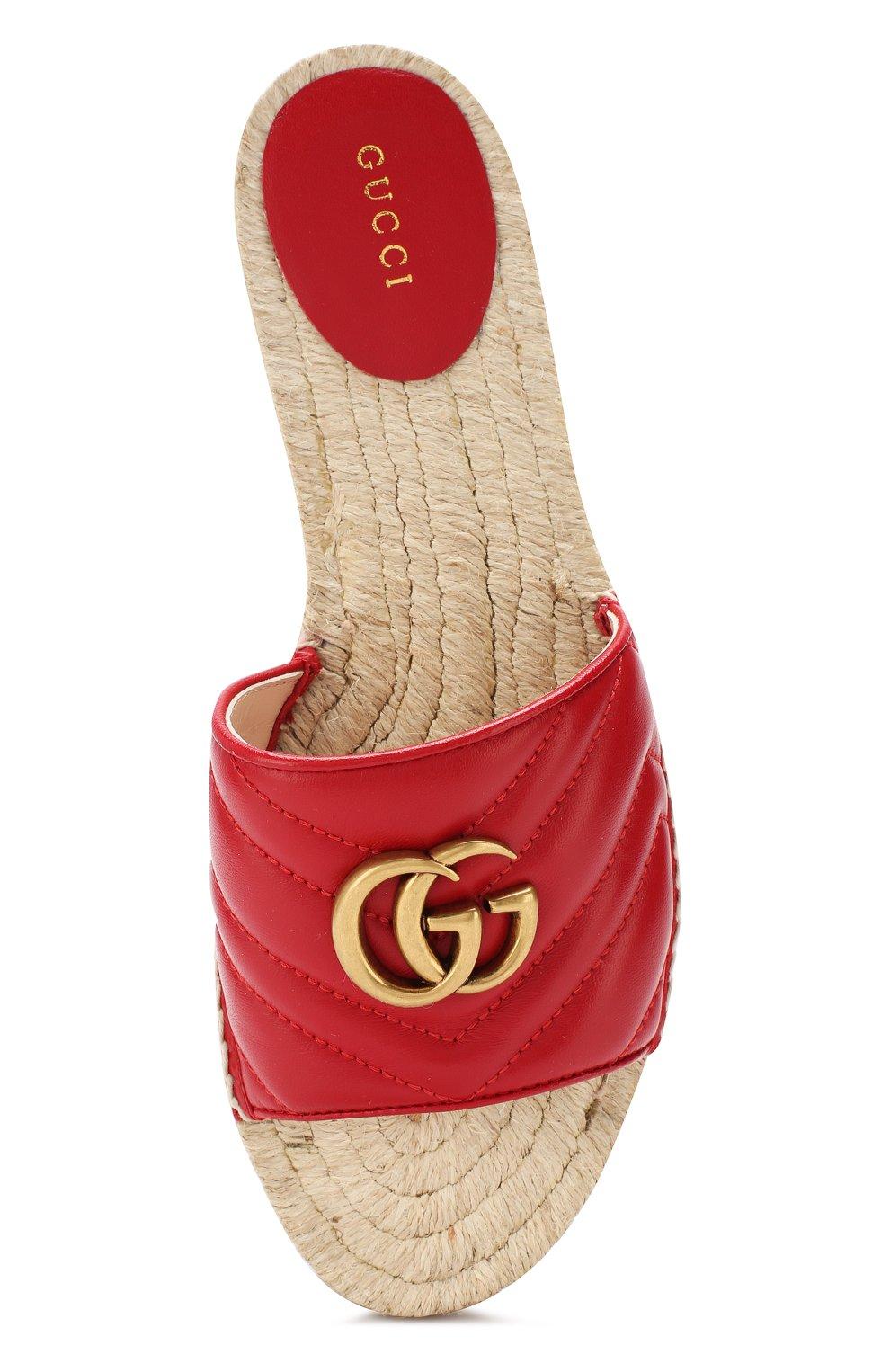 Кожаные шлепанцы Gucci красные | Фото №5