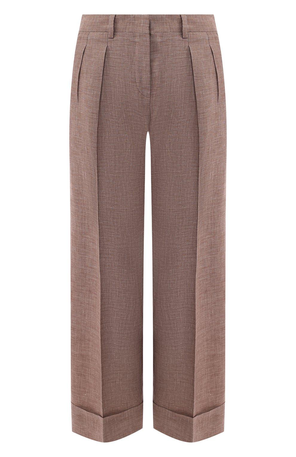 Женские брюки с отворотами KITON коричневого цвета, арт. D47119K06P19 | Фото 1