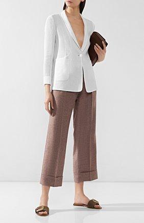 Женские брюки с отворотами KITON коричневого цвета, арт. D47119K06P19 | Фото 2
