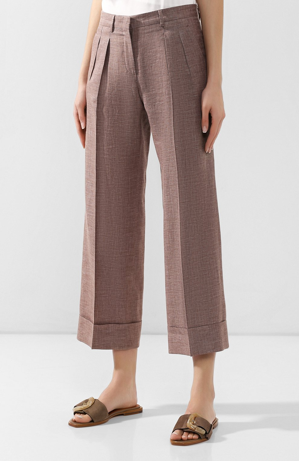 Женские брюки с отворотами KITON коричневого цвета, арт. D47119K06P19 | Фото 3