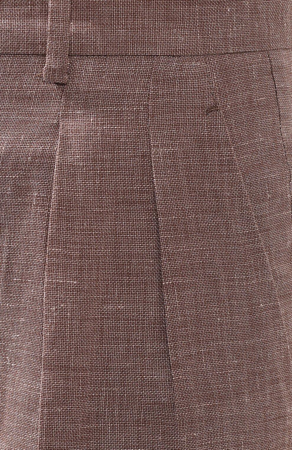 Женские брюки с отворотами KITON коричневого цвета, арт. D47119K06P19 | Фото 5