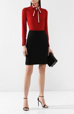 Женская шерстяная юбка GIORGIO ARMANI черного цвета, арт. 9SHNN01A/T001T | Фото 2
