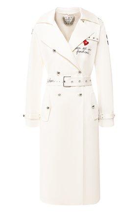 Женское хлопковое пальто WEILL белого цвета, арт. 104003 | Фото 1 (Материал внешний: Хлопок; Рукава: Длинные; Статус проверки: Проверена категория; Материал подклада: Синтетический материал; 1-2-бортные: Двубортные; Длина (верхняя одежда): До колена)