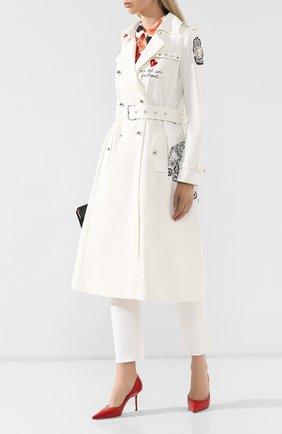 Женское хлопковое пальто WEILL белого цвета, арт. 104003 | Фото 2 (Материал внешний: Хлопок; Рукава: Длинные; Статус проверки: Проверена категория; Материал подклада: Синтетический материал; 1-2-бортные: Двубортные; Длина (верхняя одежда): До колена)