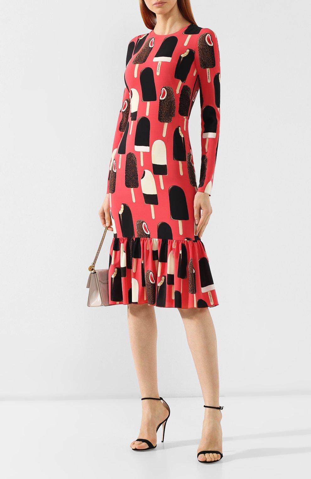 Шелковое платье Dolce & Gabbana розовое   Фото №2