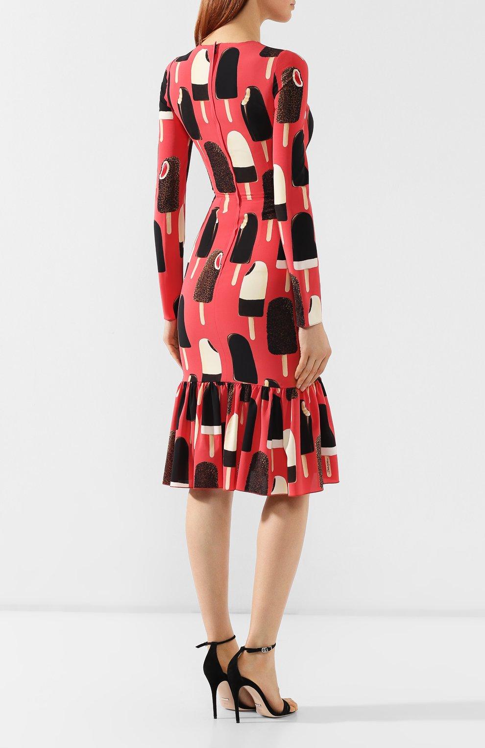 Шелковое платье Dolce & Gabbana розовое   Фото №4