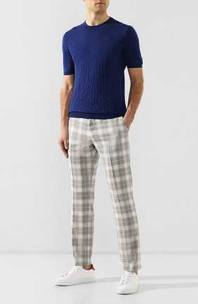 Мужской шерстяные брюки ANDREA CAMPAGNA светло-серого цвета, арт. ZIP/1 WHITE/AN1294   Фото 2