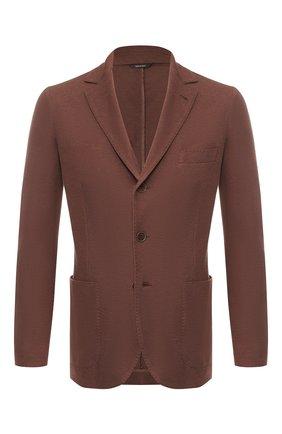 Мужской пиджак из хлопка и шелка LORO PIANA коричневого цвета, арт. FAE8388   Фото 1