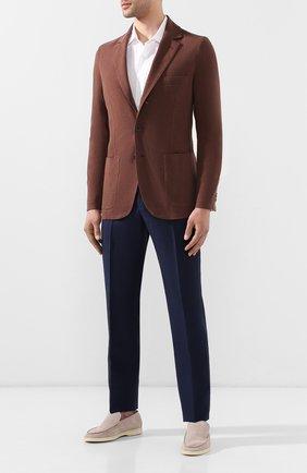 Мужской пиджак из хлопка и шелка LORO PIANA коричневого цвета, арт. FAE8388   Фото 2