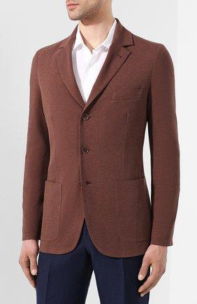 Мужской пиджак из хлопка и шелка LORO PIANA коричневого цвета, арт. FAE8388   Фото 3