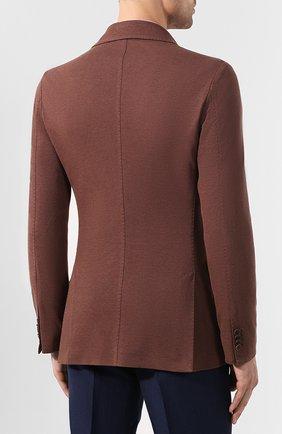 Мужской пиджак из хлопка и шелка LORO PIANA коричневого цвета, арт. FAE8388   Фото 4