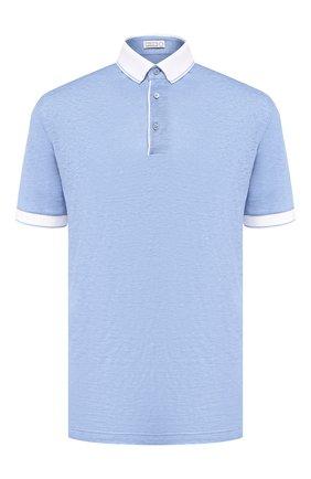 Мужское льняное поло ZILLI голубого цвета, арт. MFR-17103-66006/PB01 | Фото 1