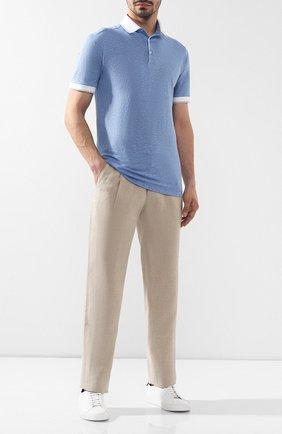 Мужское льняное поло ZILLI голубого цвета, арт. MFR-17103-66006/PB01 | Фото 2