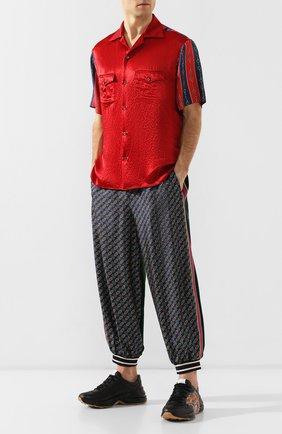 Мужской брюки из смеси хлопка и шелка GUCCI разноцветного цвета, арт. 572726/XJA4Y | Фото 2