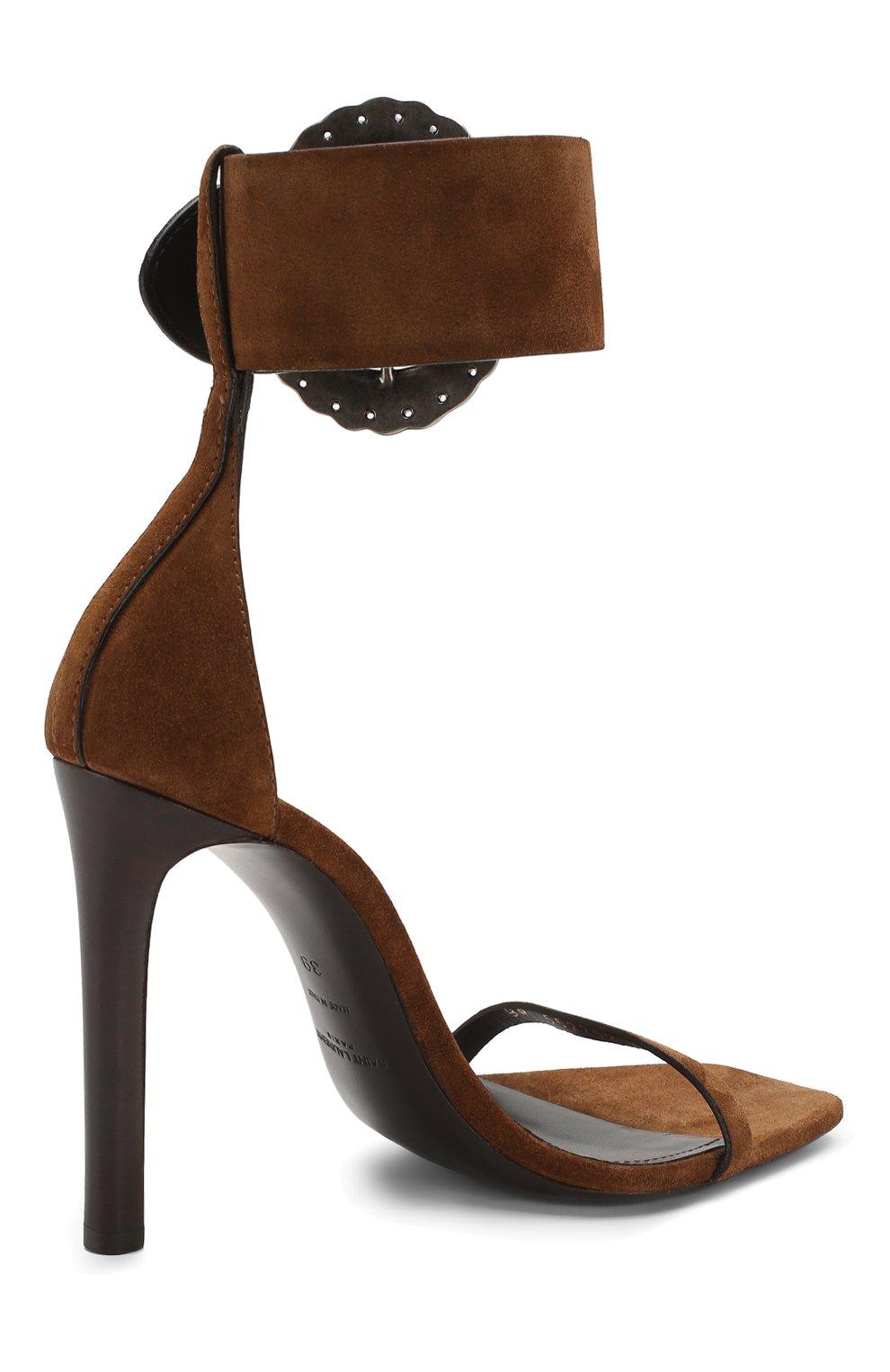 Замшевые босоножки Joplin Saint Laurent коричневые | Фото №4