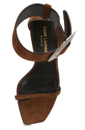 Замшевые босоножки Joplin Saint Laurent коричневые | Фото №5