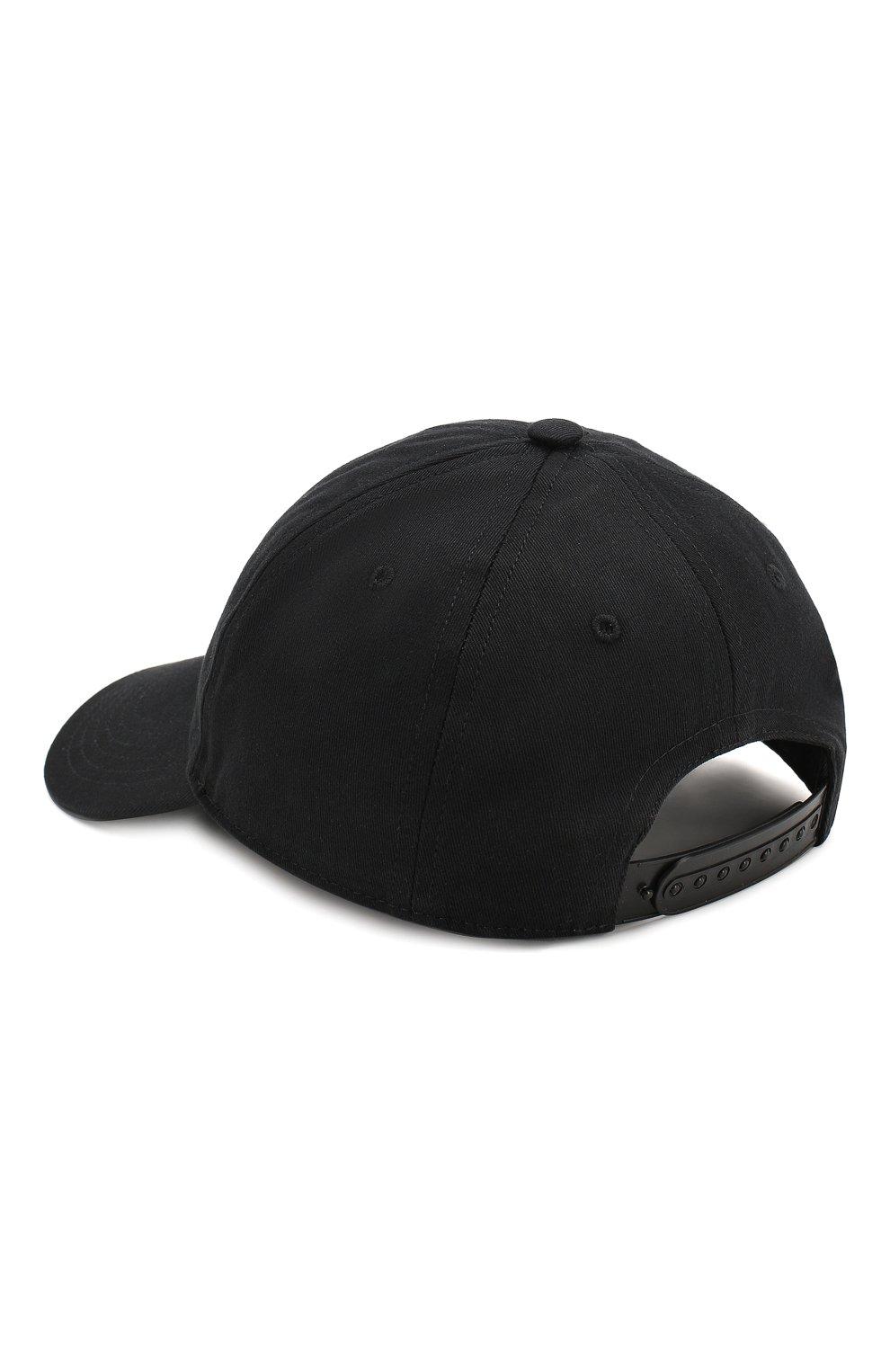 Хлопковая бейсболка Burberry черного цвета   Фото №2