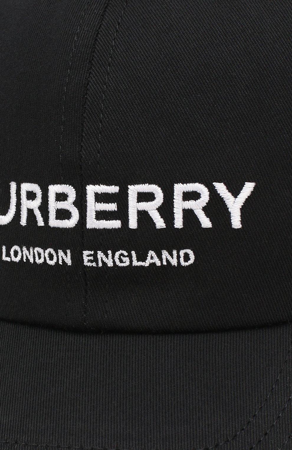 Хлопковая бейсболка Burberry черного цвета   Фото №3