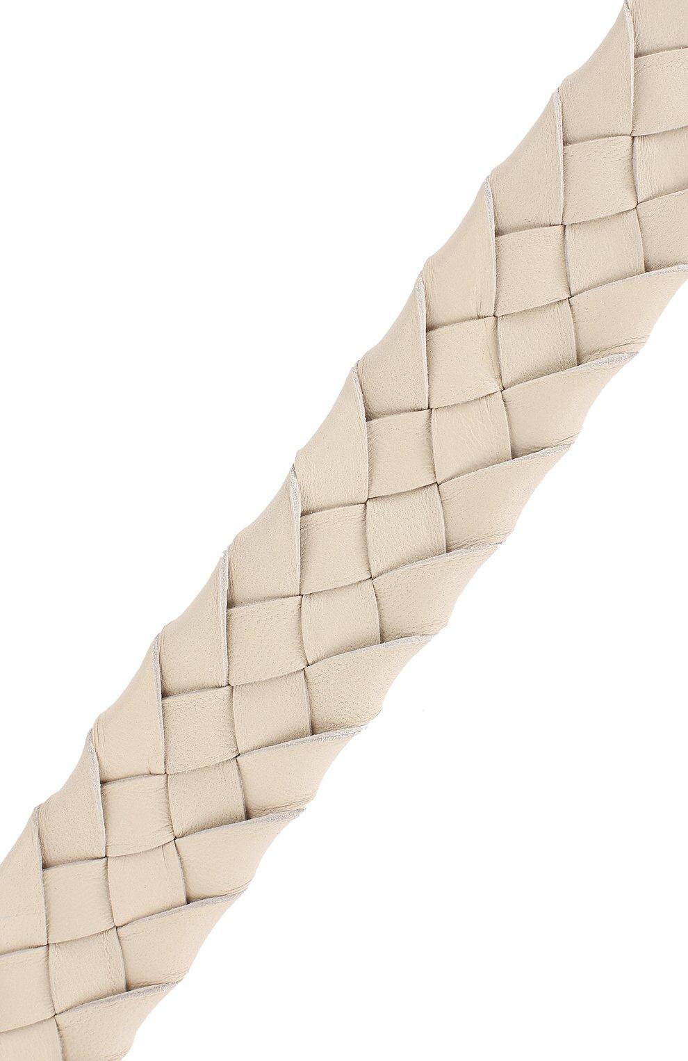 Женские кожаный ремень для сумки BOTTEGA VENETA белого цвета, арт. 567375/VCEW3 | Фото 3