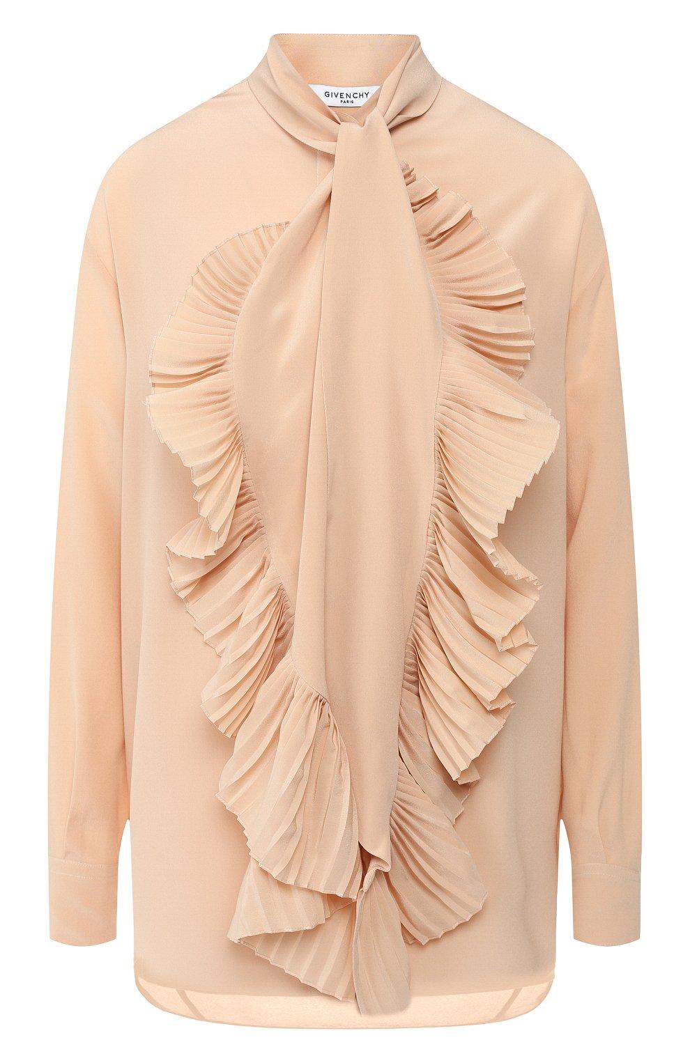 Женская шелковая блузка GIVENCHY светло-розового цвета, арт. BW60EK10JX | Фото 1
