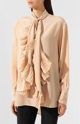 Женская шелковая блузка GIVENCHY светло-розового цвета, арт. BW60EK10JX | Фото 3