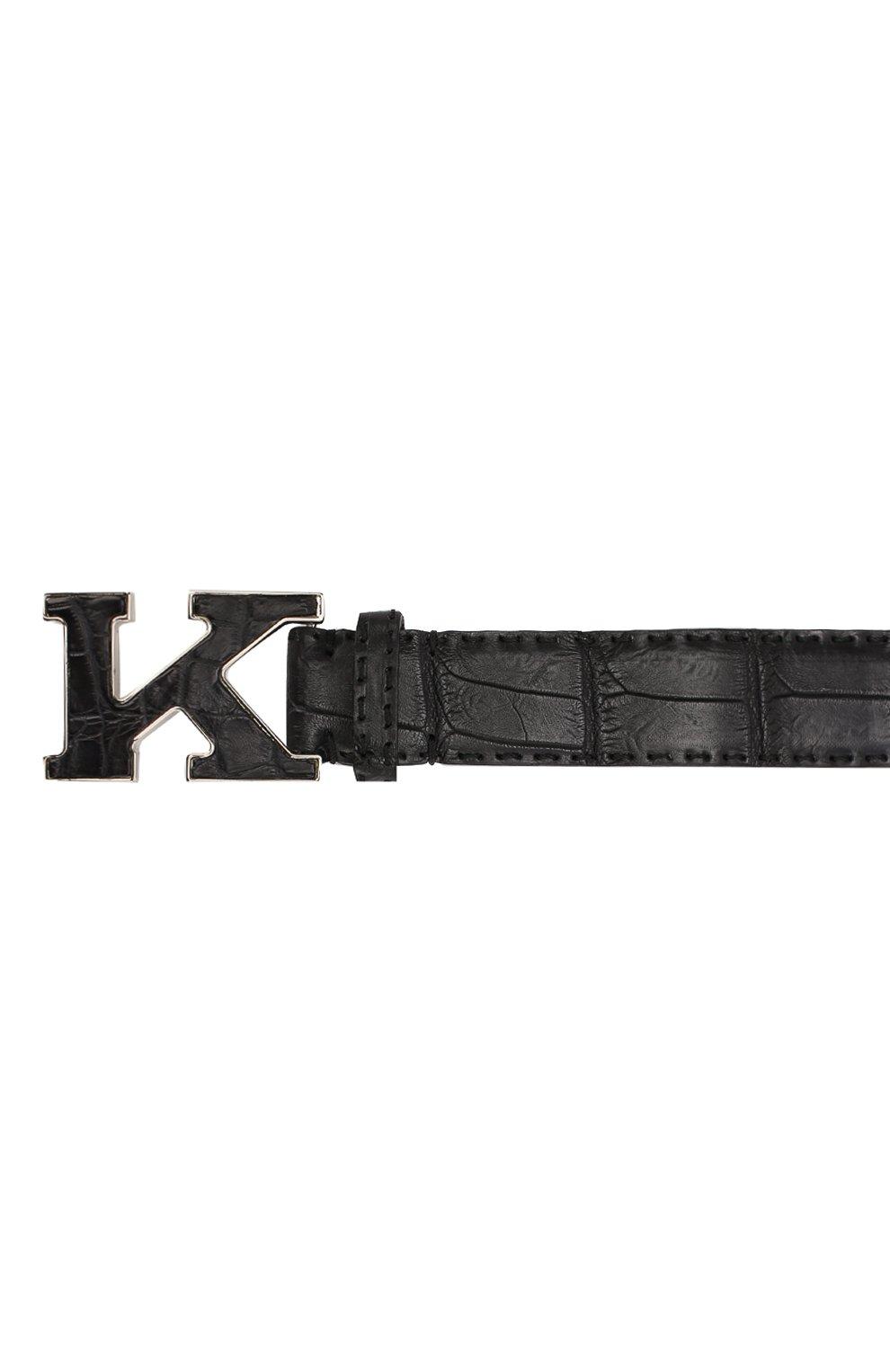 Мужской ремень из кожи крокодила KITON черного цвета, арт. USC20PN00102/CNIL | Фото 3