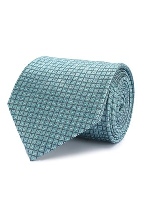 Мужской шелковый галстук BRIONI бирюзового цвета, арт. 062H00/P8439 | Фото 1