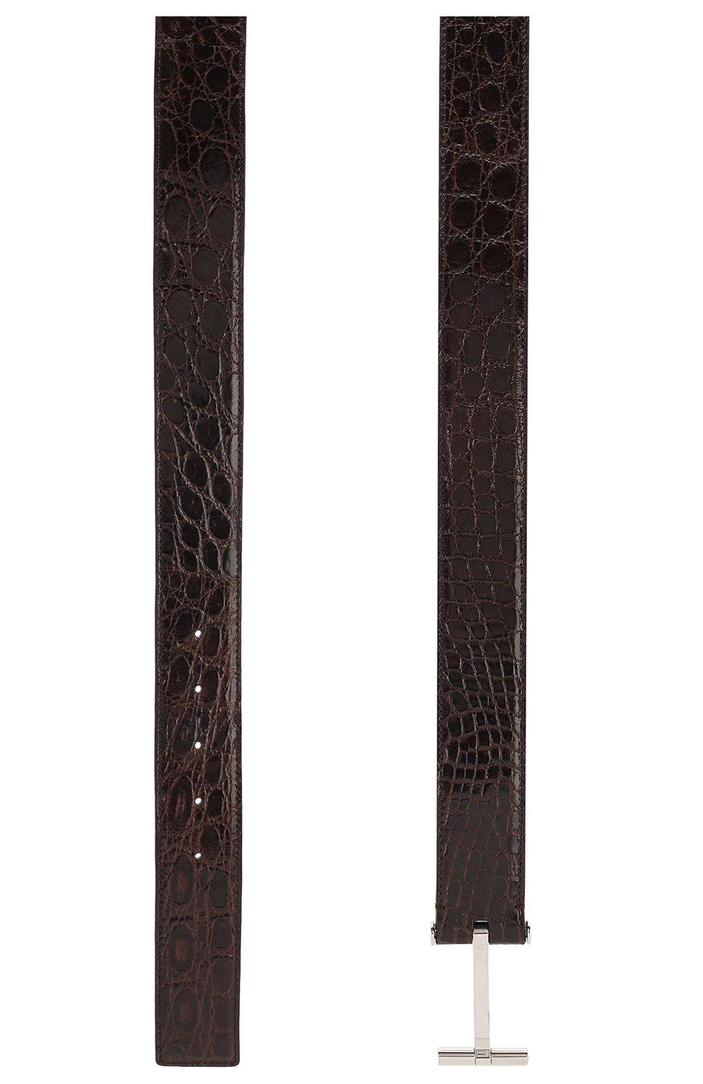 Мужской ремень из кожи каймана TOM FORD коричневого цвета, арт. TB154T-A19/CYAC | Фото 2